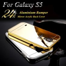 Phone Case For Samsung Galaxy S5 case Bumper Luxury Aluminum Frame + Mirror Acrylic Back Cover Case For Galaxy i9600 New Arrival