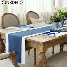 DUNXDECO 1PC 35x200CM Mediterranean Blue Simple Plain Linen Cotton Table Runner Party Kitchen Table Cover Decoration Photo Prop