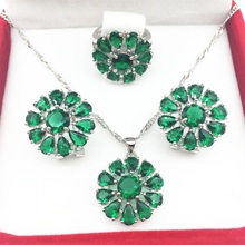 925 Silver Green Jewelry Sets Huge Flower Style Earrings/Pendant/Necklace/Rings Size 6/7/8/9 For Women Free shipping(China)