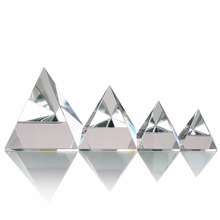 H&D New Arrival Crystal Glass Pyramid Clear Rare Feng Shui Crystals Craft Ornaments for Home Decor( Four Size for Chose)
