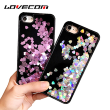 LOVECOM Dynamic Liquid Hearts Quicksand Soft TPU Frame Mobile Phone Case Cover For iPhone 8 7 6 6S Plus 5 5S SE Cases Coque(China)