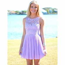 2017 Hot Sale Summer Beach Wedding Sleeveless Purple Lavender Lace Short Bridesmaid Dress BN05