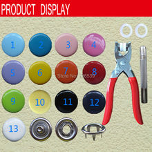 FREE SHIPPING 1000sets+a plier +a hand installation tool colorful  10mm cap prong snap button baby snap button accessories