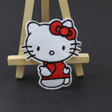 3pcs Cute Hello Kitty Cat Embroidery Patch DIY Patches For Kids Clothes Embroidered Clothing Garment Accessory Applique Badge