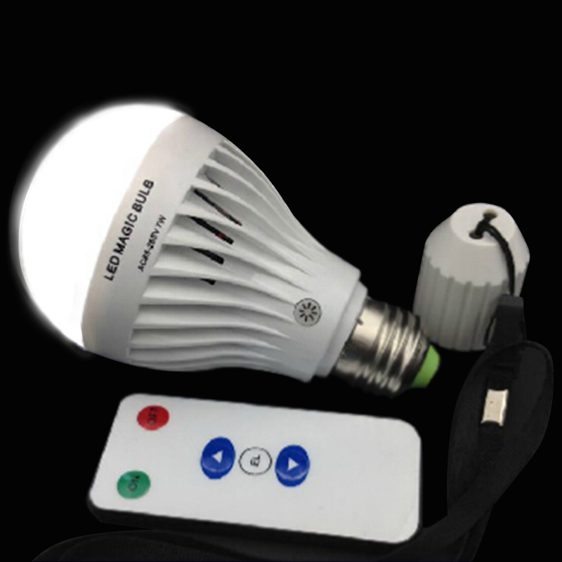 dimmable 7W E27 White LED Rechargeable Emergency Magic Bulb Light Flashlight 85-265V with dimmable remote controller<br><br>Aliexpress