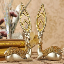Luxury European Deer Model Home Furnishing Decoration Creative Living Room Figurines Fashion Ornaments Resin Crafts Wedding Gift(China)