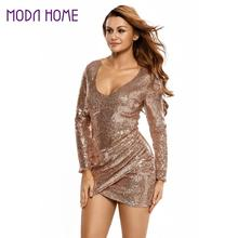 2017 Sexy Women Sequin Bodycon Mini Dress Ruched Plunge V Neck Long Sleeve Night Club Party Dresses Lady Shiny Silver Wrap Dress