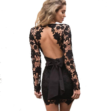 2017Women Vestidos Party Pink Dress Sexy Bow Fringe Lace Black Mini Dress Slim Deep V Neck Long Sleeve Backless Crochet Bodycon