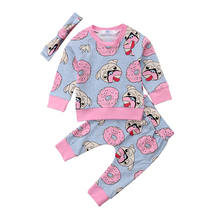3pcs Baby Clothing Sweet Newborn Baby Girl Outfit Clothes Pugs Donuts Lemon Tops Leggings Pant Headband Set(China)