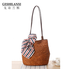 new simple pure straw bag  female Shoulder Bag hand woven bag beach bag