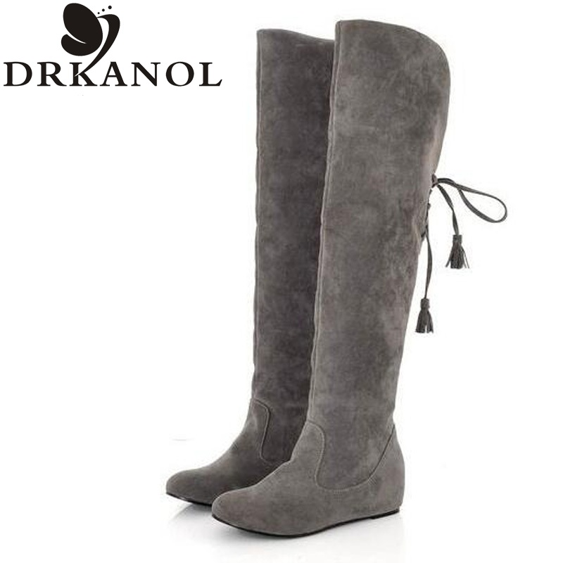 2017 women snow boots suede flat slip on over the knee high boots spring winter keep warm height increasing casual shoes <br>