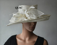 2017 NEW 6 colours Big Cream ivory wide brim Dress Church Sinamay Hats with feather flowers for races,wedding,Kentucky derb(China)