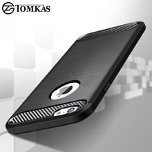 Protective Silicone Case For iPhone 6 6S 7 Plus TPU Cover Carbon Fiber Phone Cover For iPhone 5S 5 SE 6 S 6Plus Coque Tomkas(China)