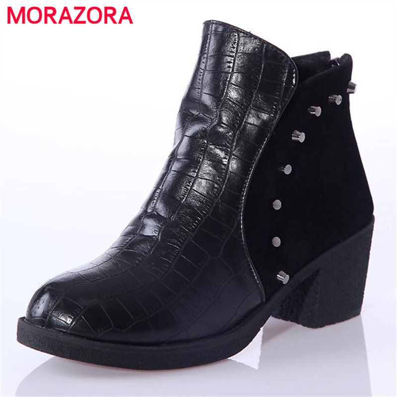 Rivets large boots 34-43 ankle boots for women pu soft leather round toe square heel winter boots fashion black  boots<br><br>Aliexpress