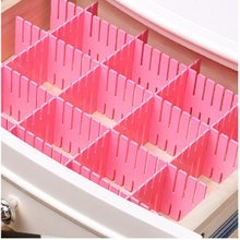 8pcs Creative DIY Adjustable Organizer Partitions Combination Grid Drawer Closet Divider Household Organization Clapboard Pink