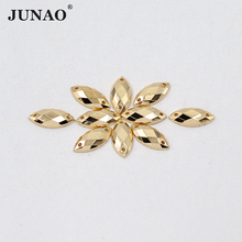 JUNAO 7*15mm Sewing Crystal Flatback Gold Color Rhinestone Sew On Acrylic Stones Horse Eye Strass Crystals Clothes Decorations