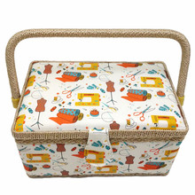 Fashion Household Storage Box Cotton Fabric Needle Thread Scissors Buttons Sewing Tools Basket With Handle For Women Wife Gift(China)