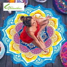 Lotus Print Round Beach Towel with Tassel Large Yoga Mat Indian Mandala Throw Bath Towels for Adult Tablecloth Picnic Blanket