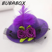 New Cute Hat Shaped Flower Adornment Girls Feathered Hat Hair Clips Children's Hair Accessories Fashion Hairpins(China)