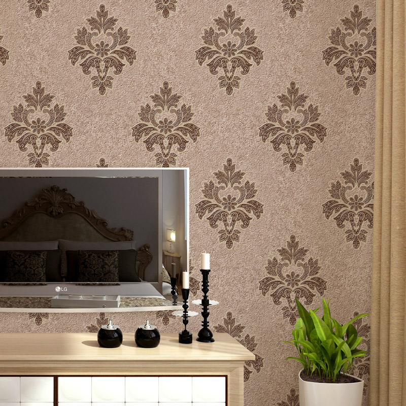 European Simple Luxury Beige Deep Blue Damask Wallpaper For Wall 3 D Classic Embossed TV Room Bedroom Wall paper Home Decor<br>