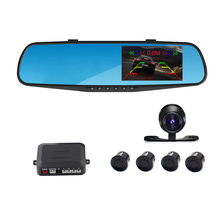 Car DVR parking reversing backup alarm security system car mirror DVR+rearview camera+4 parking sensors auto parking system(China)