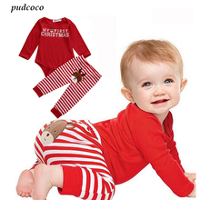 2 Pcs Christmas Newborn Baby Boy Girl Clothes Babies Letter Bodysuit Onesie+ Stripe Deer Pants Outfit Xmas Clothing