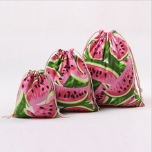 Watermelon Canvas printing Accommodated Beam Port Cotton Bag Pouch Drawstring Gift Children's Love Candy Bags For Crochet tool