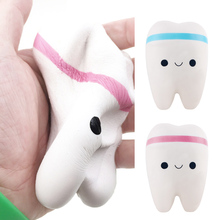 Besegad 1pcs 10.5CM PU Kawaii Soft Squishy Cute Teeth Slow Rising Jumbo Squeeze Cell Phone Strap Key Chain Pendant Toy