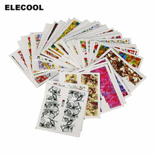 ELECOOL 50PCs 3D Image Printing DIY Watermark Full Wraps Kit Water Transfer Nail Art Sticker Fingernail Decals Tips Decoration(China)