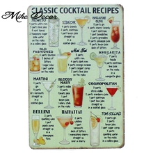 [ Mike86 ] CLASSIC COOKTAIL RECIPE Metal Poster Room Decor Retro Wall Craft Tin Sign For Pub 20*30 CM Mix Items AA-917(China)