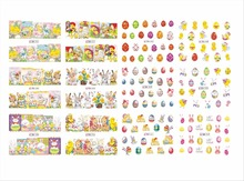 12 PACK/ LOT  WATER DECAL NAIL ART NAIL STICKER FULL COVER EASTER RABBIT EGGS LUCKY BN541-552