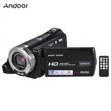 Andoer V12 1080P Video Camera Full HD 16X Digital Zoom Recording Camcorder w/3.0 Inch Rotatable LCD Screen Support Night Vision(China)