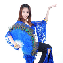 2017 Hot! Belly Dance Peacock Feather Fan 11 Colours(China)