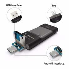 I-flash drive for iphone 7plus apple 6s Pen Drive 16g 32g 64g andorid OTG Pendrive for sony huawei U Disk 3 in 1 usb flash drive(China)