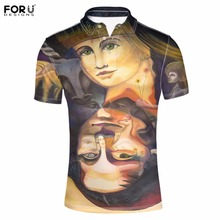 FORUDESIGNS 2017 Brand Men Polo 3D Handle Painting Mens Polos Summer Short Sleeved Male Casual Polo Shirts Camisa Tommis Homme