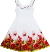 Girls Dress Sunflower Garden Turn-down Collar Sleeveless 2017 Summer Princess Wedding Party Dresses Children Clothes Size 4-12