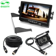 "GreenYi Large Vehicle Truck Bus 7"" TFT LCD Monitor 2 Video Input + Metal IR Rear View Camera No Parking Line Aviation Geade"