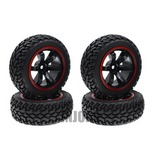 4PCS High Quality 1:10 Rally Car Wheel Rim and Tire for 1/10 Tamiya HSP HPI Kyosho 4WD RC On Road Car(China)