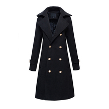 new autumn and winter men's wool blends long coat double breasted slim fit parka pea coats fashion overcoats