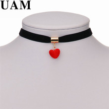 UAM 2017 Sweet Style Velvet Red/Purple Love Heart Chokers Necklaces Girl Women Wife Present Femal Short Accessories