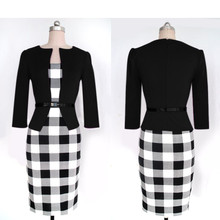 SYB 2016 NEW Women Summer Elegant Belted Tartan Patchwork Tunic Work Business Casual Party Bodycon Pencil Sheath Dress