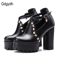 Gdgydh 2017 New Spring Buckle Casual Shoes Women High Heels Fashion Rivets Platform Russian Ladies Shoes Crystal Big Size 43(China)