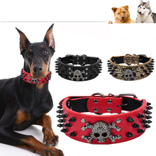 Pet Collars Bullet Rivet Collar With Devil Skull Decor Strap Dog Led Collars Buckle Neck PU Leather Spiked Dog Collar Designer