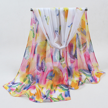 2017 Hot sale Woman Silk Scarf Printing Hijab Women's Scarves Fashion polyester Chiffon Silk soft Scarfs Shawl Scarves Wraps 051(China)