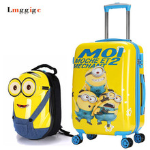Minions Kids Luggage Travel Bag ,Children's Cartoon Universal wheels Suitcase Trolley with Backpack ,Child Gift Drag Boxes