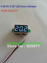 2pcs a lot  Blue Digital Voltmeter 99.9VDC Slim LED Digital Panel Meters Car Motorcycle Battery Monitor Voltmeter