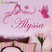 JJRUI Personalized Custom Name Flower Butterfly Dream Girls Bedroom Wall Stickers Vinyl Home Decals 31.5x19.7in(China)