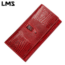 LMS Unisex Genuine Leather Wallet 2017 Alligator Pattern Clutches Women Wallets Fashion Men Card Holders Wallet Purse Clutch Bag(China)