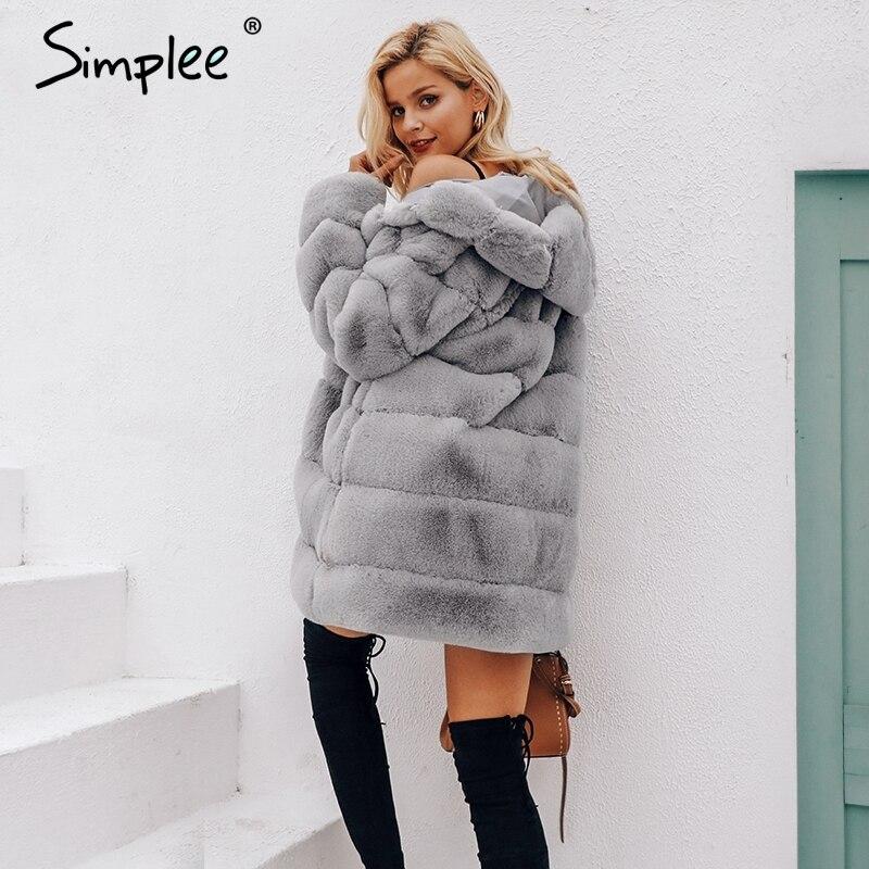 34c7a3f827470 Simplee Vintage fluffy hoodie faux fur coat women Winter grey jacket coat  female Plus size warm long casual outerwear overcoat