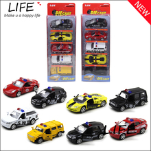 Free Shipping 5 Alloy Cool Cars Models In One Set For KidsToys Wholesale Mini COP Cars For Colecters Hot Wheels 1:64 Juguetes
